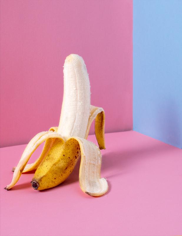 皮が剥かれたバナナ